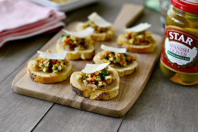 Green Olive and Garlic Carmelized Onion Tapenade Crostinis