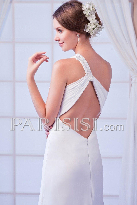 vestidos de novia Cristals Acanalada Sinplit Vaa columna Sinhoulder ...