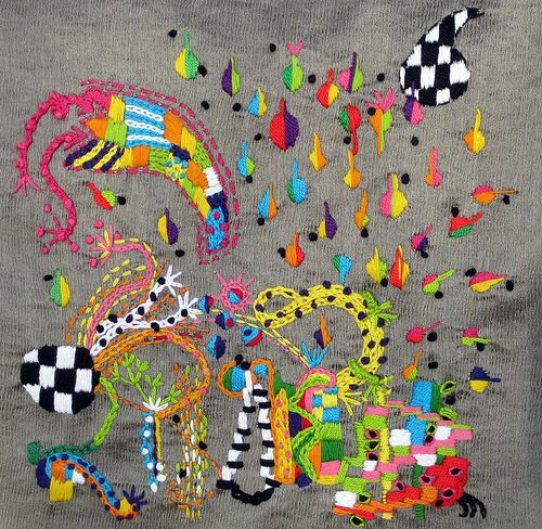 free form machine embroidery  Free Form embroidery on recycled silk | DIY Embroidery and ...