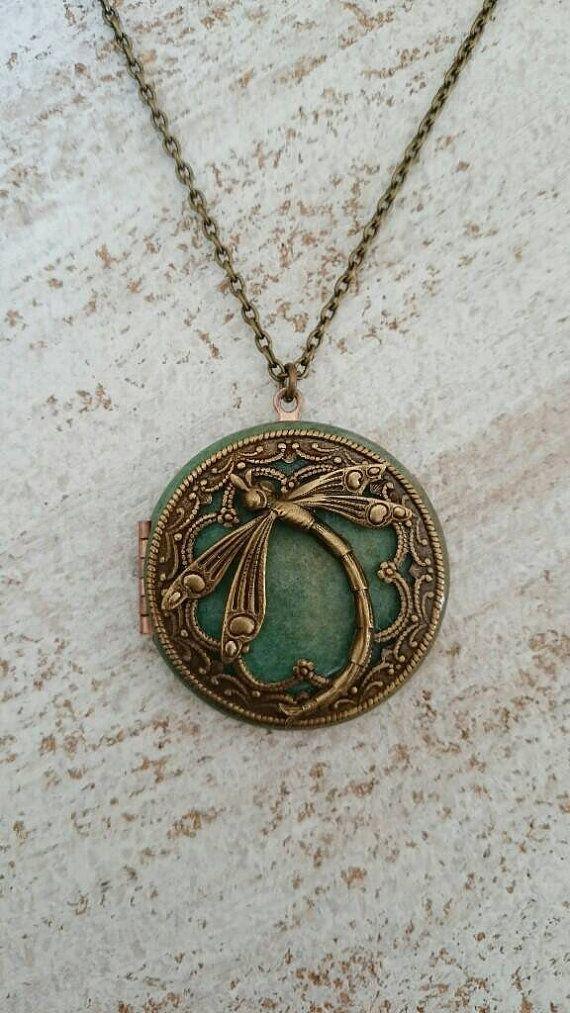 Dragonfly locket pendant necklace vintage antique by pinklalou dragonfly locket pendant necklace vintage antique by pinklalou mozeypictures Gallery