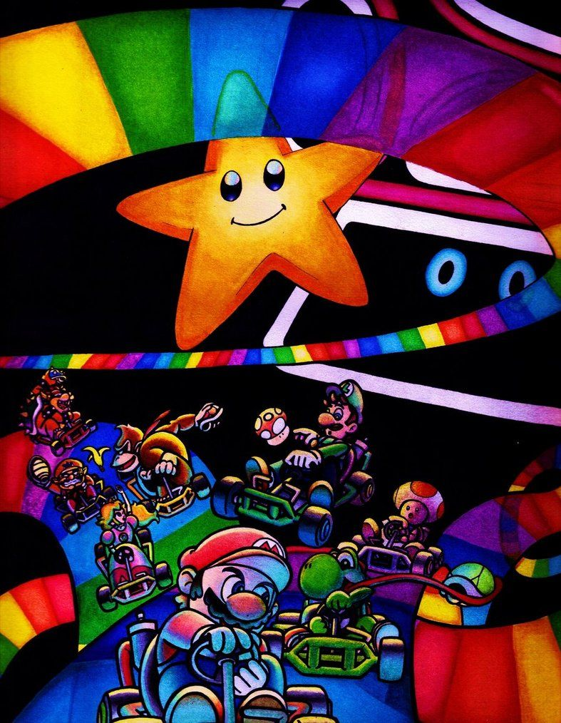 Mario Kart 64 Rainbow Road By Https Www Deviantart Com Joker08 On Deviantart With Images Mario Kart Mario Kart 64 Mario And Luigi