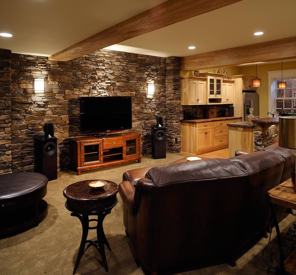 I like the end table and the tv stand the rock is very for Country basement ideas