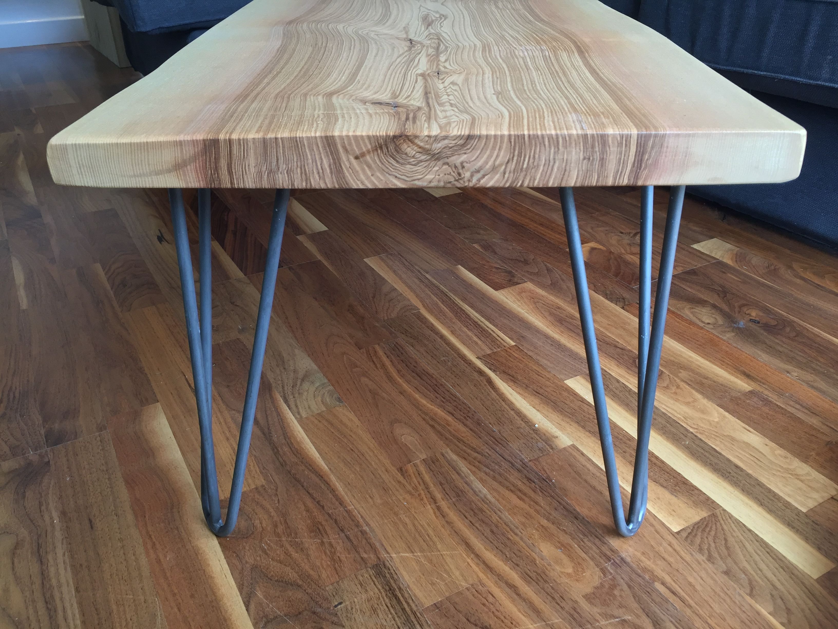 Solid Ash slab hairpin leg coffee table
