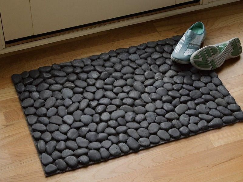 How To Make A Diy River Rock Doormat Diy Stone Floor Diy River Rock Door Mat Diy