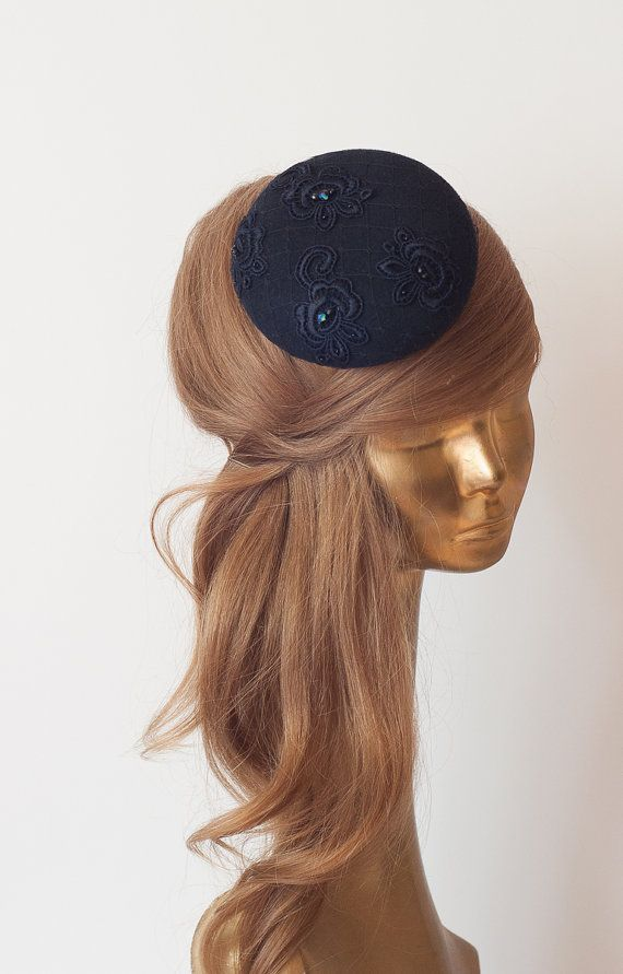 606e02a33d933 Unique Modern Navy Blue FELT FASCINATOR with Navy Blue Lace   Veil by  ancoraboutique