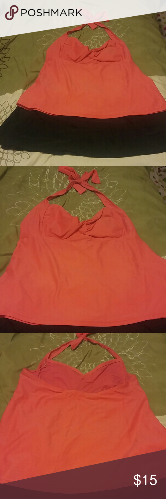 Tankini swim suit Selling together only. Coral swim halter tank. Simple black swim skirt. Top is L (12/14) Bottom is XL (16/18) Catalina Swim
