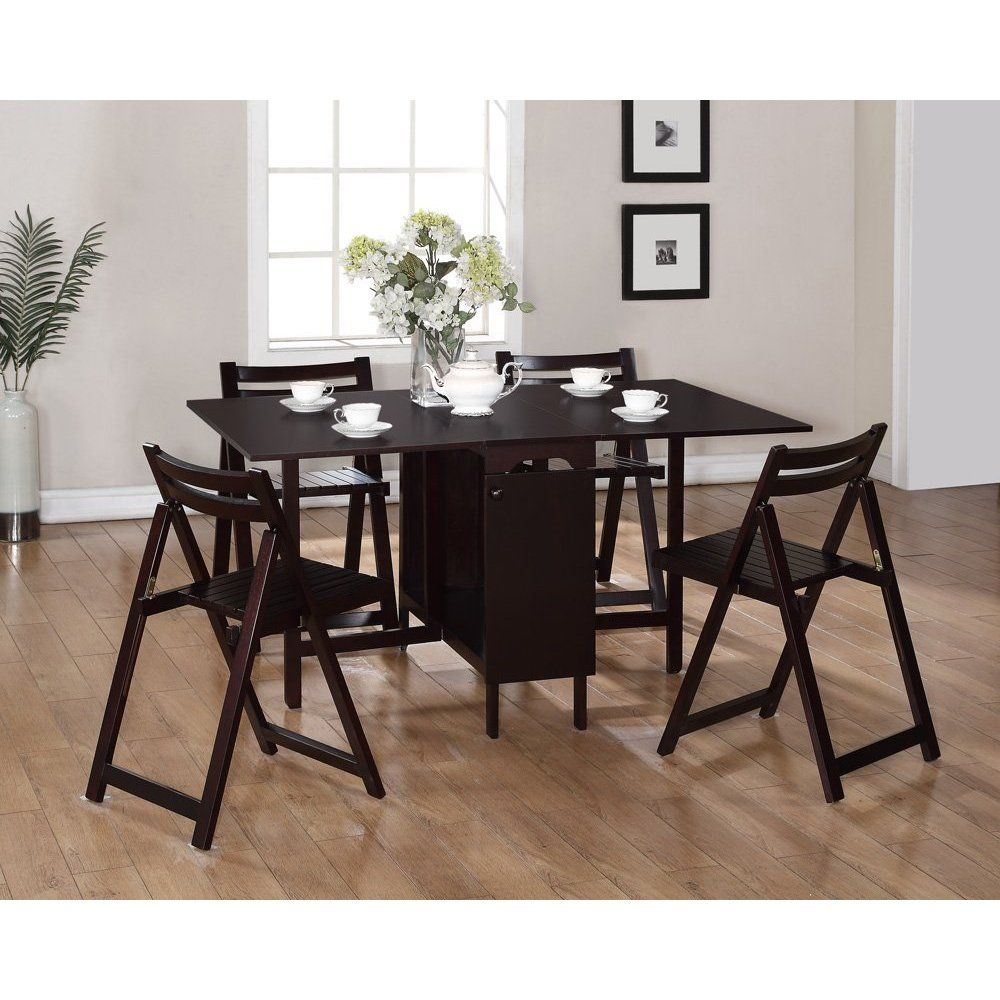Wood Espresso 5 Pc Space Saver Dining Set Espresso Table w 4