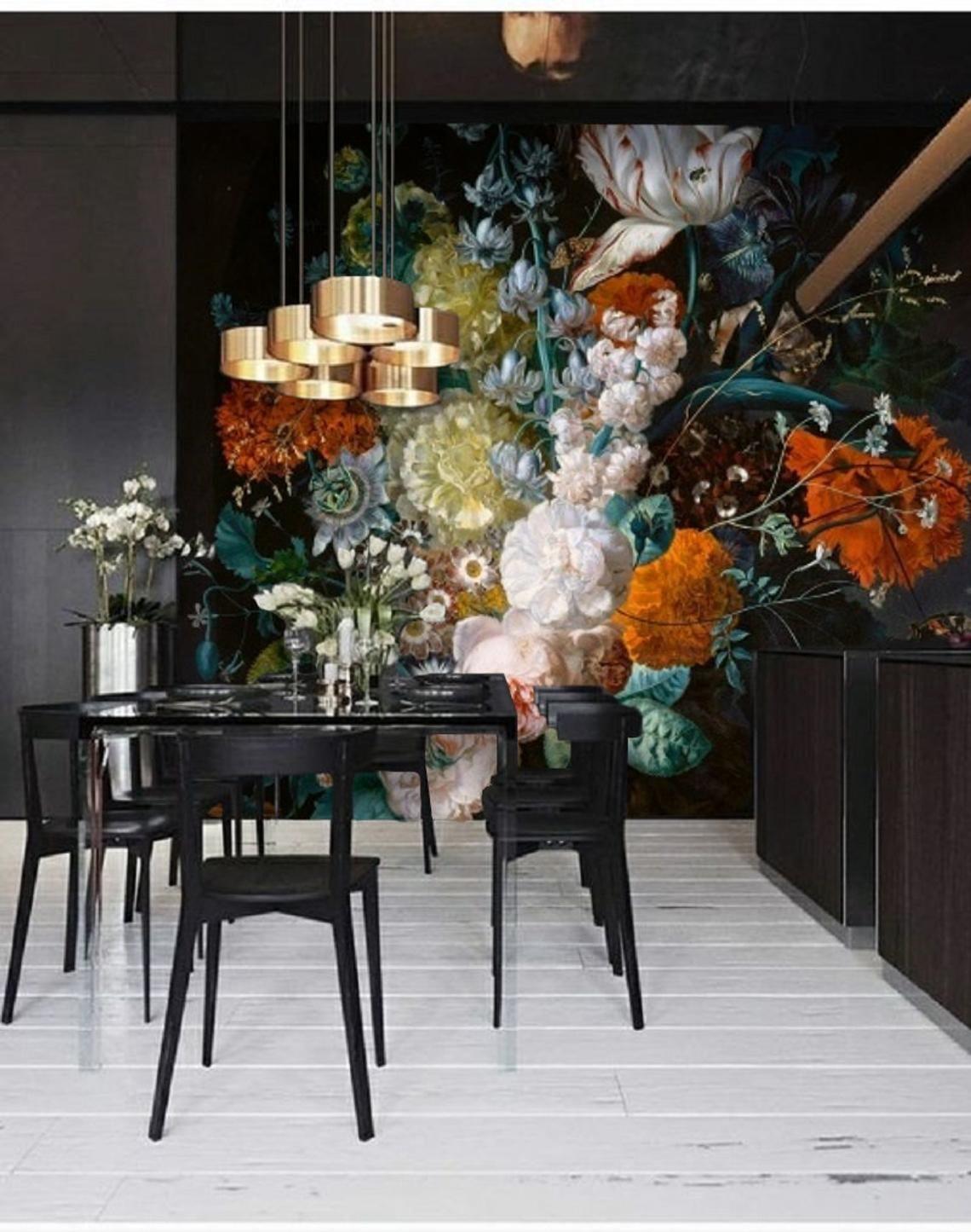 Dutch Floral Wallpaper Mural Peel & Stick Wallpaper Remove