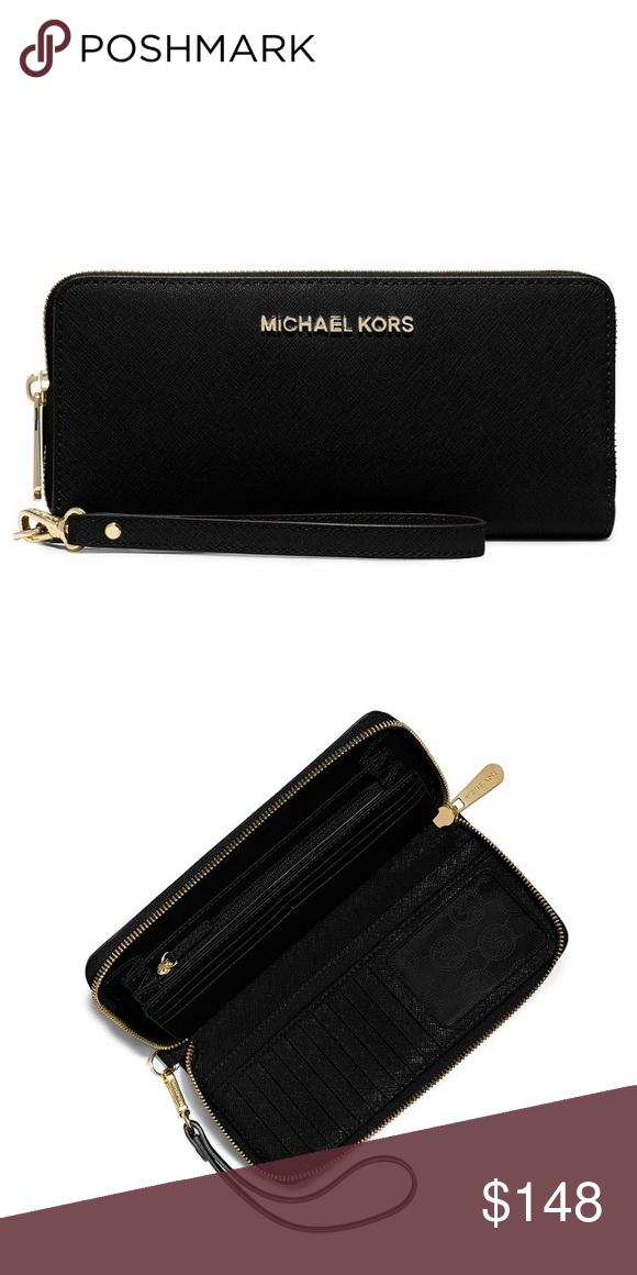 2cf6bce90521 Michael Kors Black Gold Jet Set Continental Wallet NWT MICHAEL KORS  Gold-Tone Jet Set