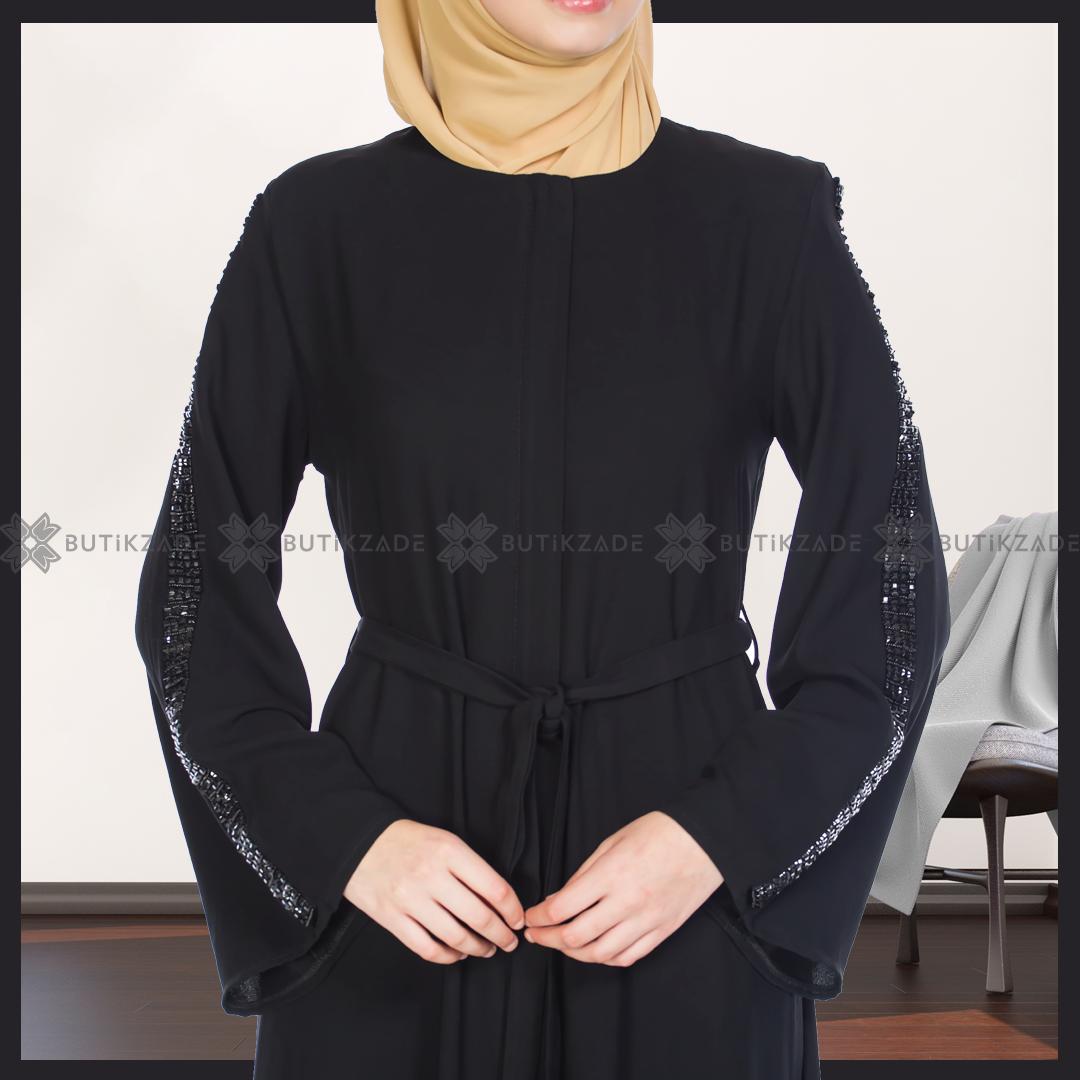 Kolu Tasli Abaya Siyah Giyim Siyah Abayalar