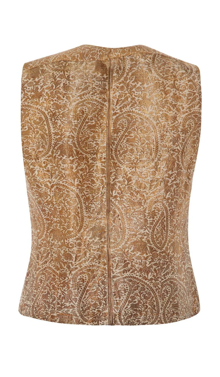 1930's Gold Brocade Indian Waistcoat   From a collection of rare vintage jackets at http://www.1stdibs.com/fashion/clothing/jackets/