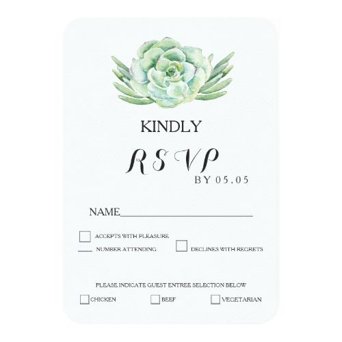watercolor celadon succulent wedding rsvp card succulent wedding