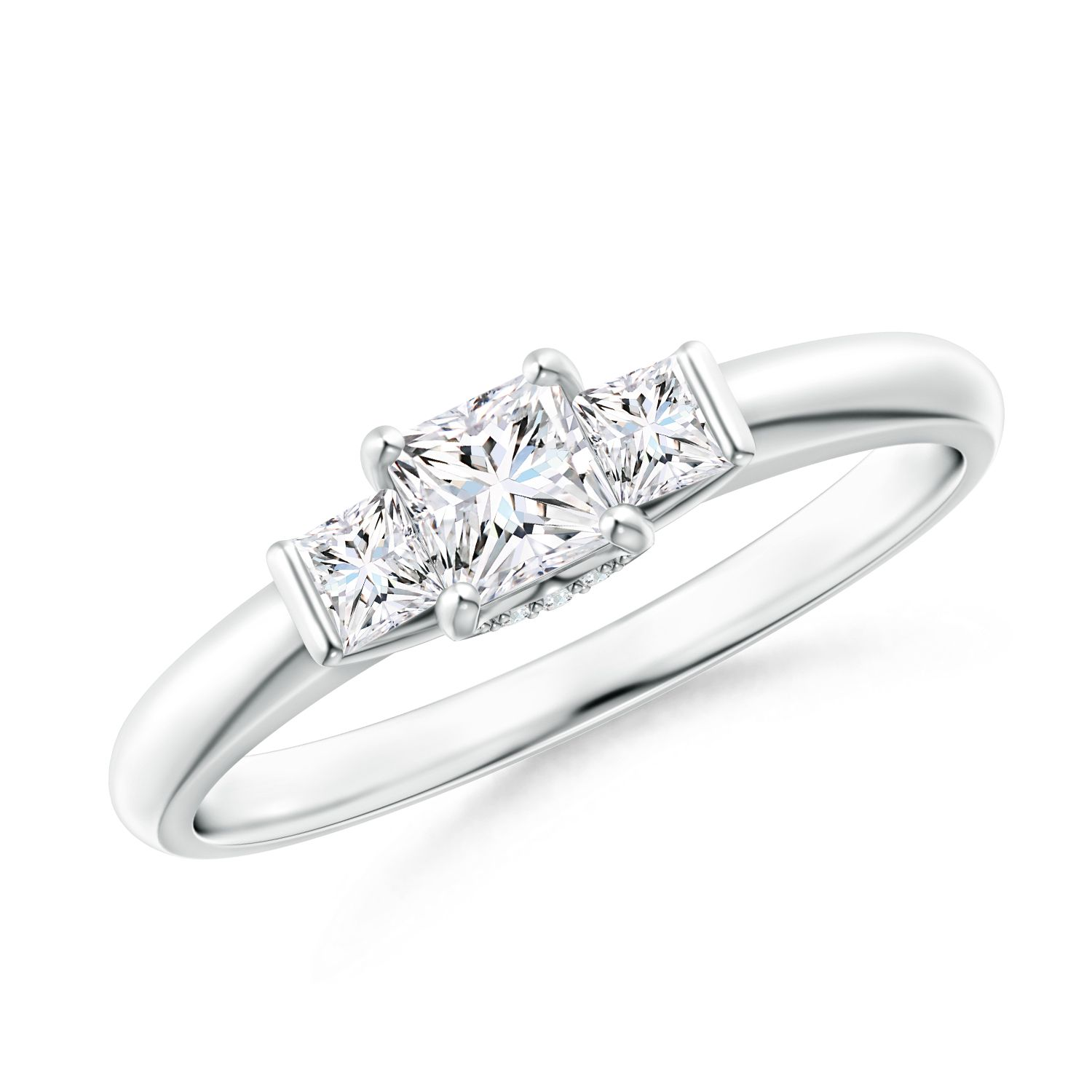 Angara Classic 3 Stone Princess Cut Diamond Engagement Ring