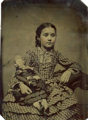 Victorian Little Girl with Her Doll Tintype 1880's