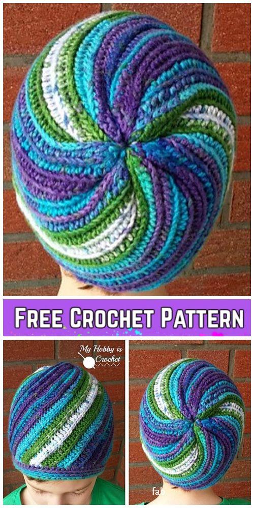 Crochet Faux Knit Pinwheel Beanie Hat Free Crochet Pattern - All Sizes #beaniehats