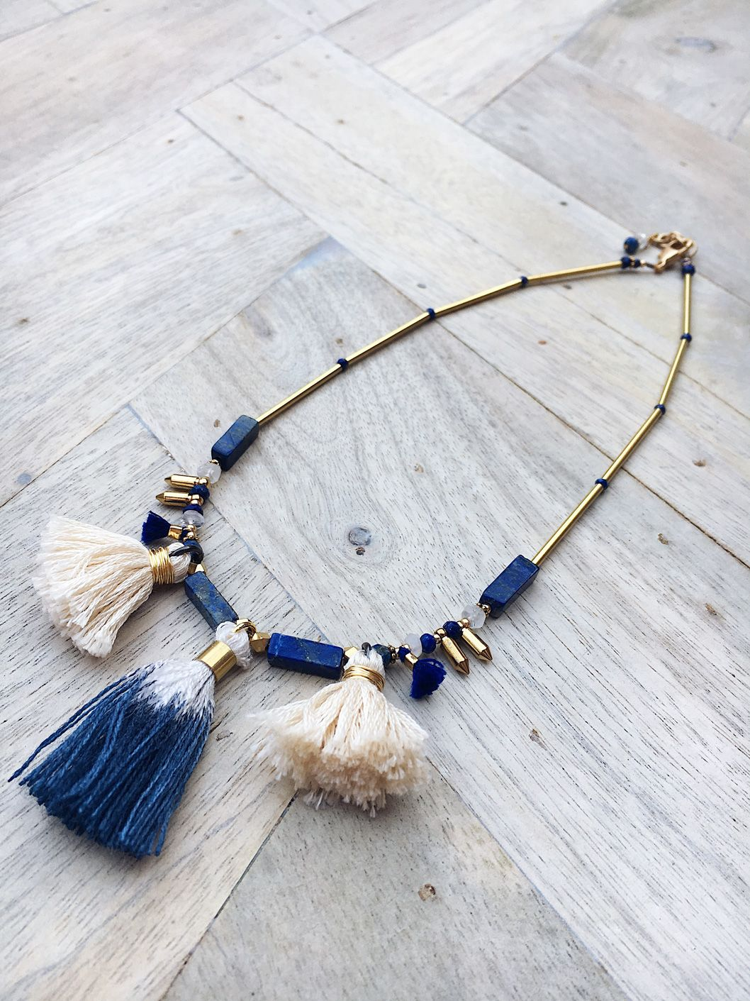 TILA // LAPIS LAZULI TASSEL NECKLACE $95.00 Natural Blue Agate AA Lapis Lazuli Handmade Tassels Gold Plated Chain Durable Gold Filled Clasp 1″ Extender Chain