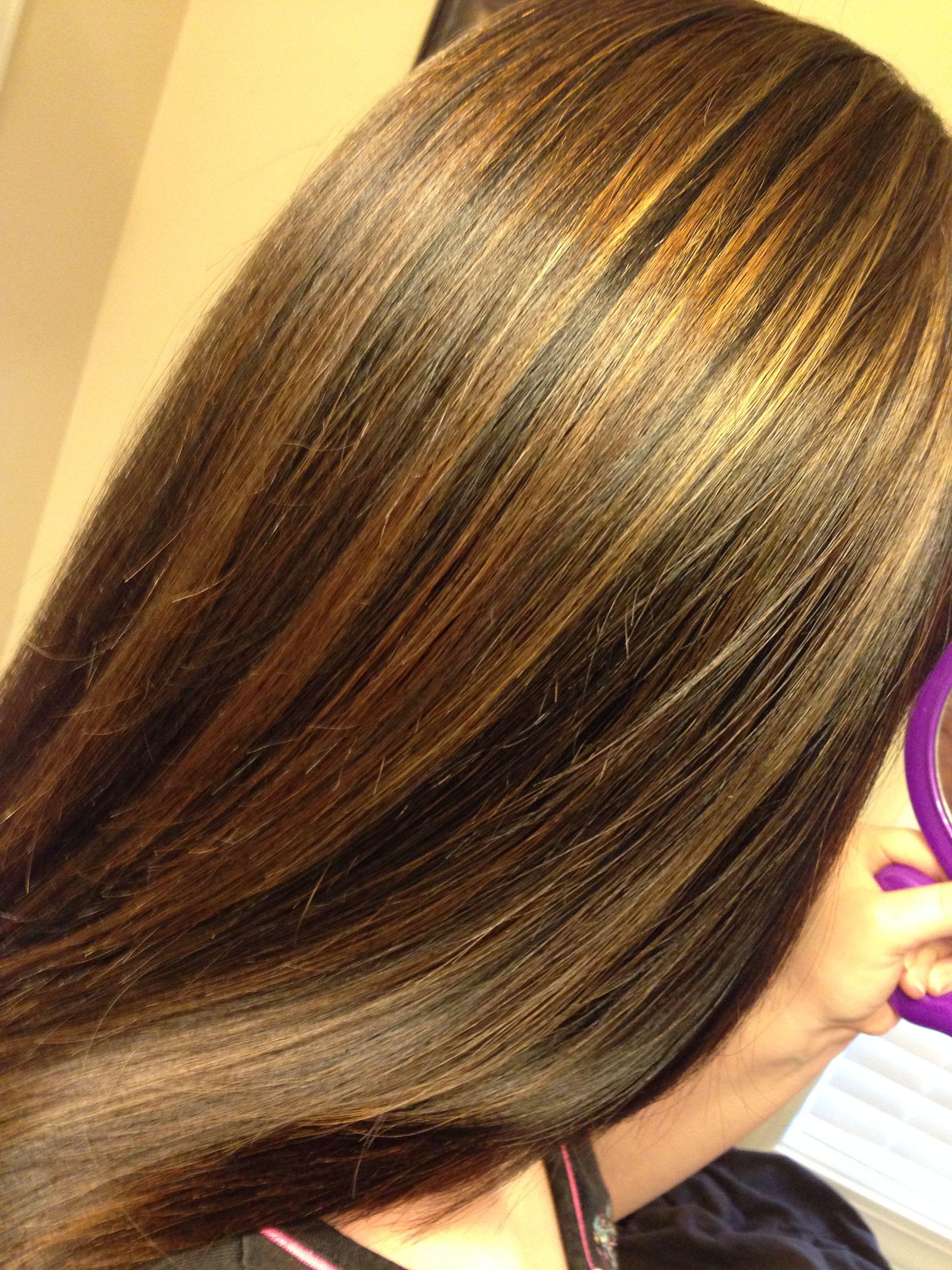 Dark brown hair and highlights Hair Pinterest
