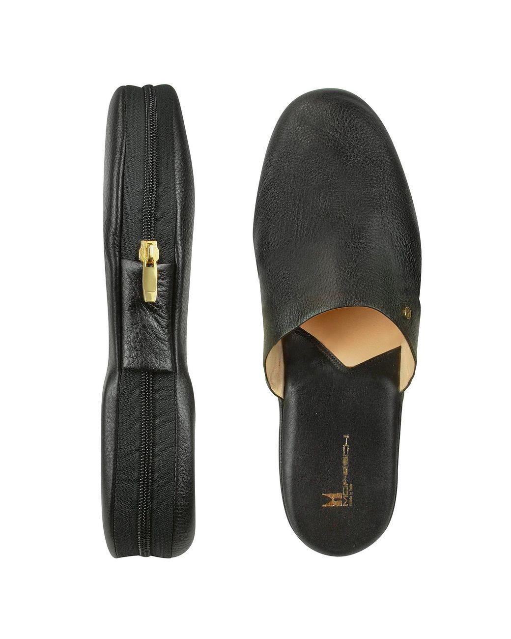 8b358c5904d Men s Amerigo - Black Calf Leather Travel Slippers W case