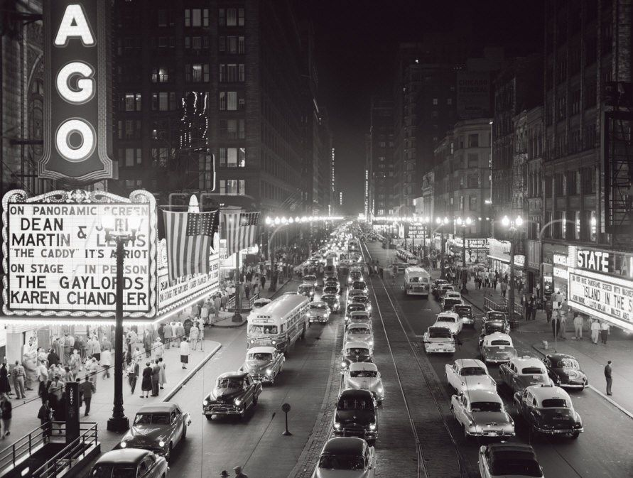 Night Scene of Chicago State Street, c.1953 (With images