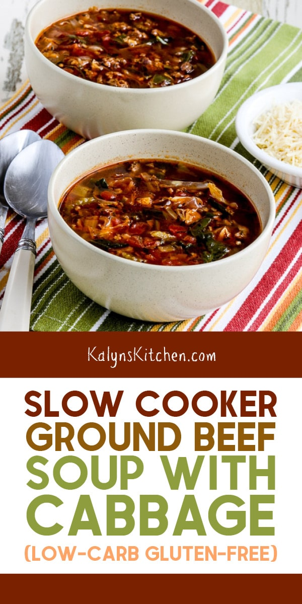 Slow Cooker Ground Beef Soup With Cabbage Kalyn S Kitchen Recipe In 2020 Slow Cooker Ground Beef Soup With Ground Beef Slow Cooker Soup