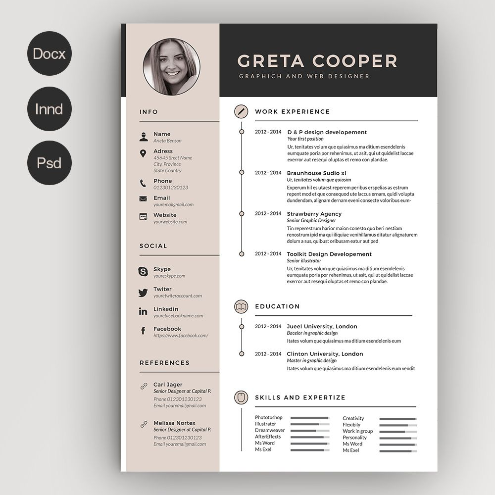 Clean Cv Resume II By Estartshop On Creativemarket Jobs