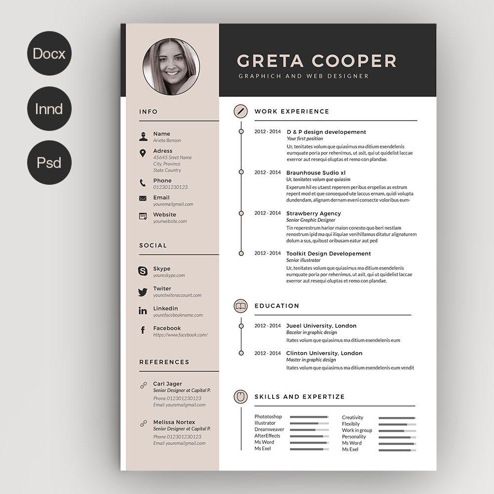 Clean Cv-Resume II - Resumes - 1 | Diseño | Pinterest | Comprar y Coser