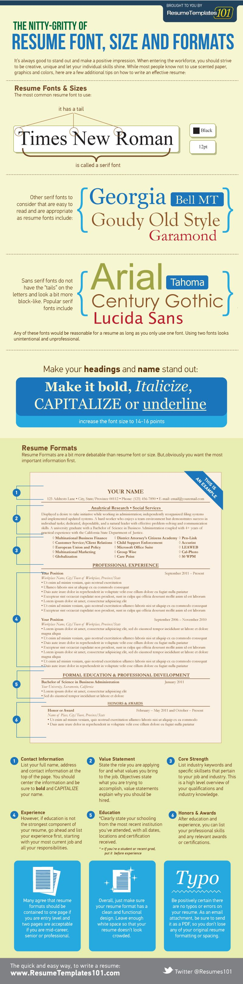 Best resume font size and format. | Work It~ | Pinterest ...