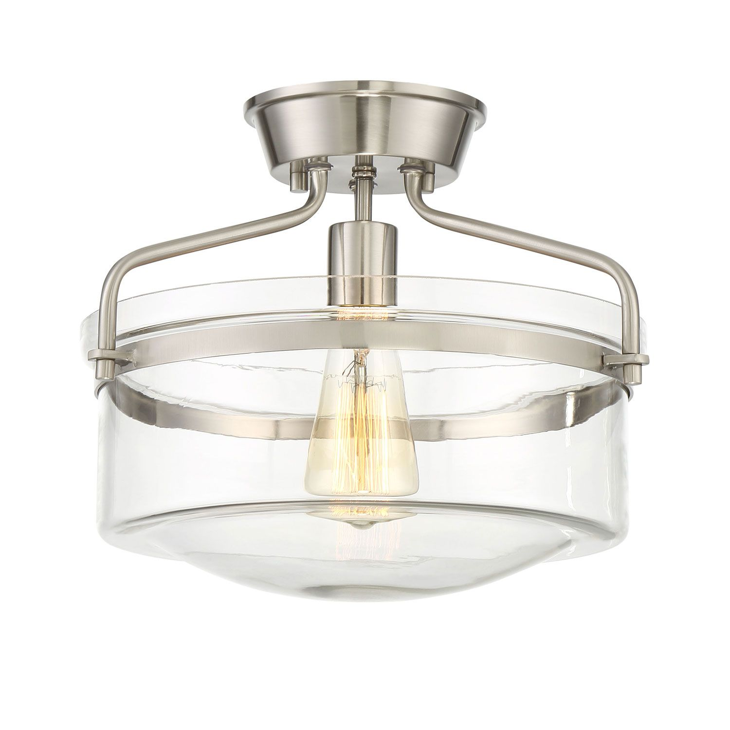 251 First Afton Brushed Nickel One Light Drum Semi Flush