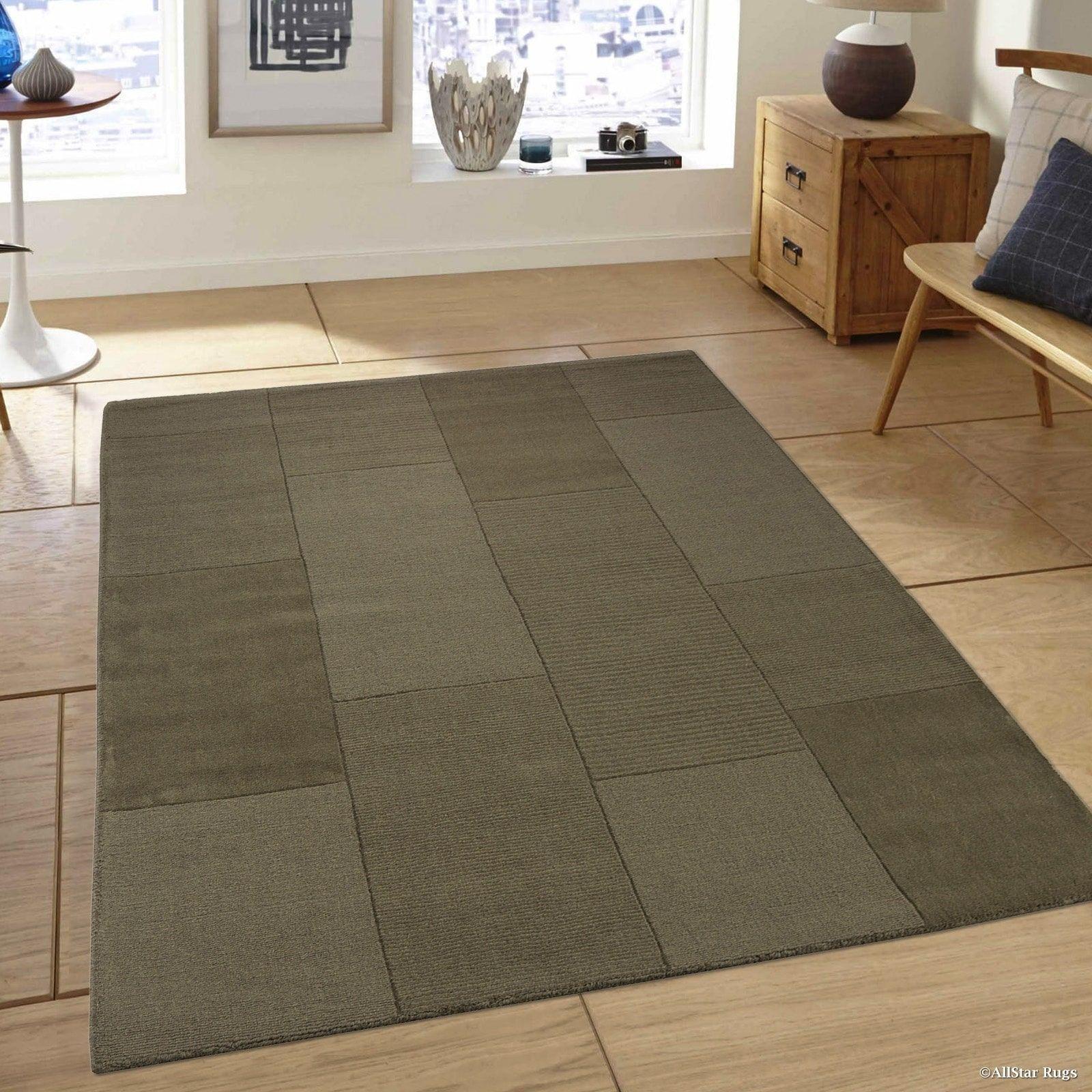 Allstar Olive Green Wool Ultra Soft Modern Solid Textured Rug 5