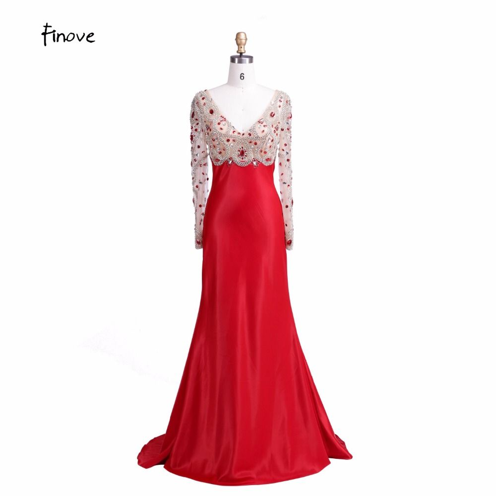 Click to buy ucuc sexy v neck mermaid formal evening dresses beaded
