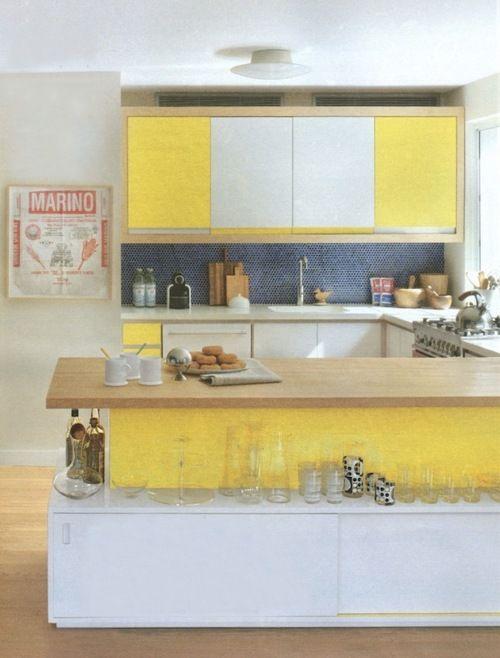 #yellow and #navy - interesting bright kitchen - take # ...