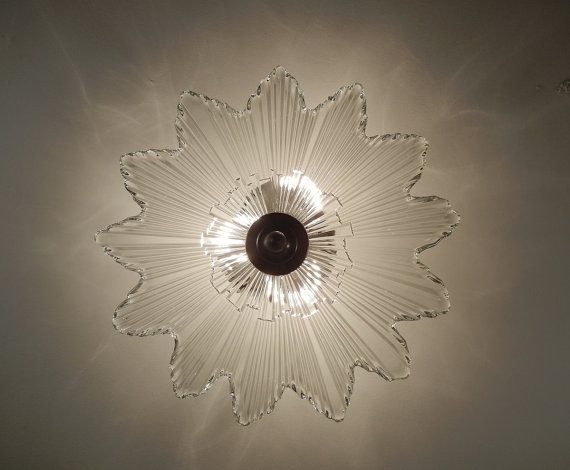 Vintage Glass SUNBURST Starburst Antique Light 1930 s Ultra Art Deco