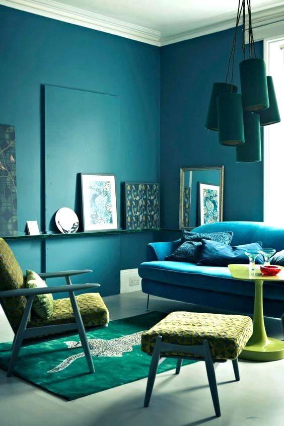 Blaues und grünes Wohnzimmer Innenarchitektur 2018 Pinterest - Wohnzimmer Design Wandfarbe Grau