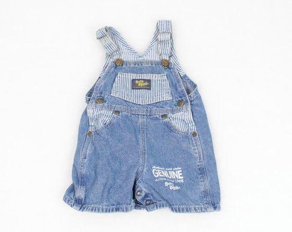 9f66d2f9f Vintage Baby Overalls Blue Jean Jumper Denim Overall Shorts OshKosh ...