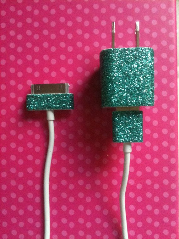 Teal Glitter iPhone Charger by GiftsThatGlitter