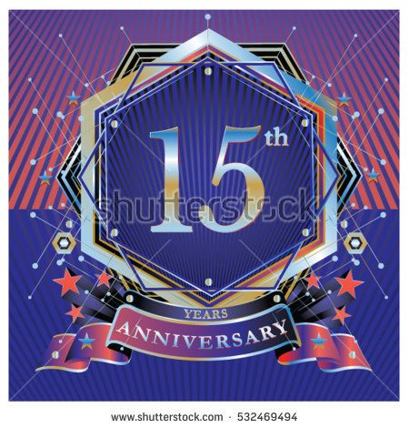 15 Years Anniversary Logo Celebration With Ring And Ribbon Symbol