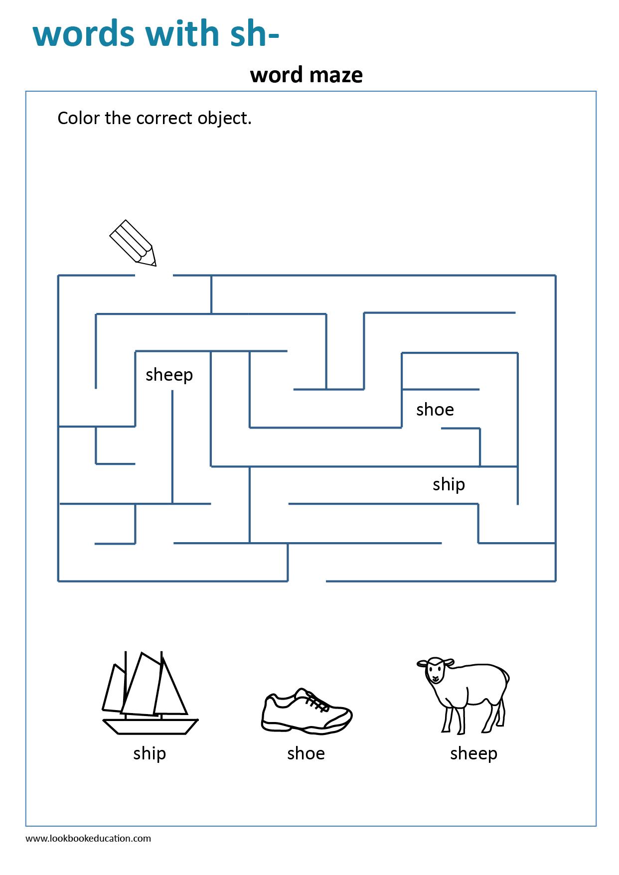 Words That Start With Sh Maze Worksheets Maze Worksheet Words [ 1756 x 1242 Pixel ]