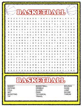 Basketball word search free pdf | Teaching, Teaching ...