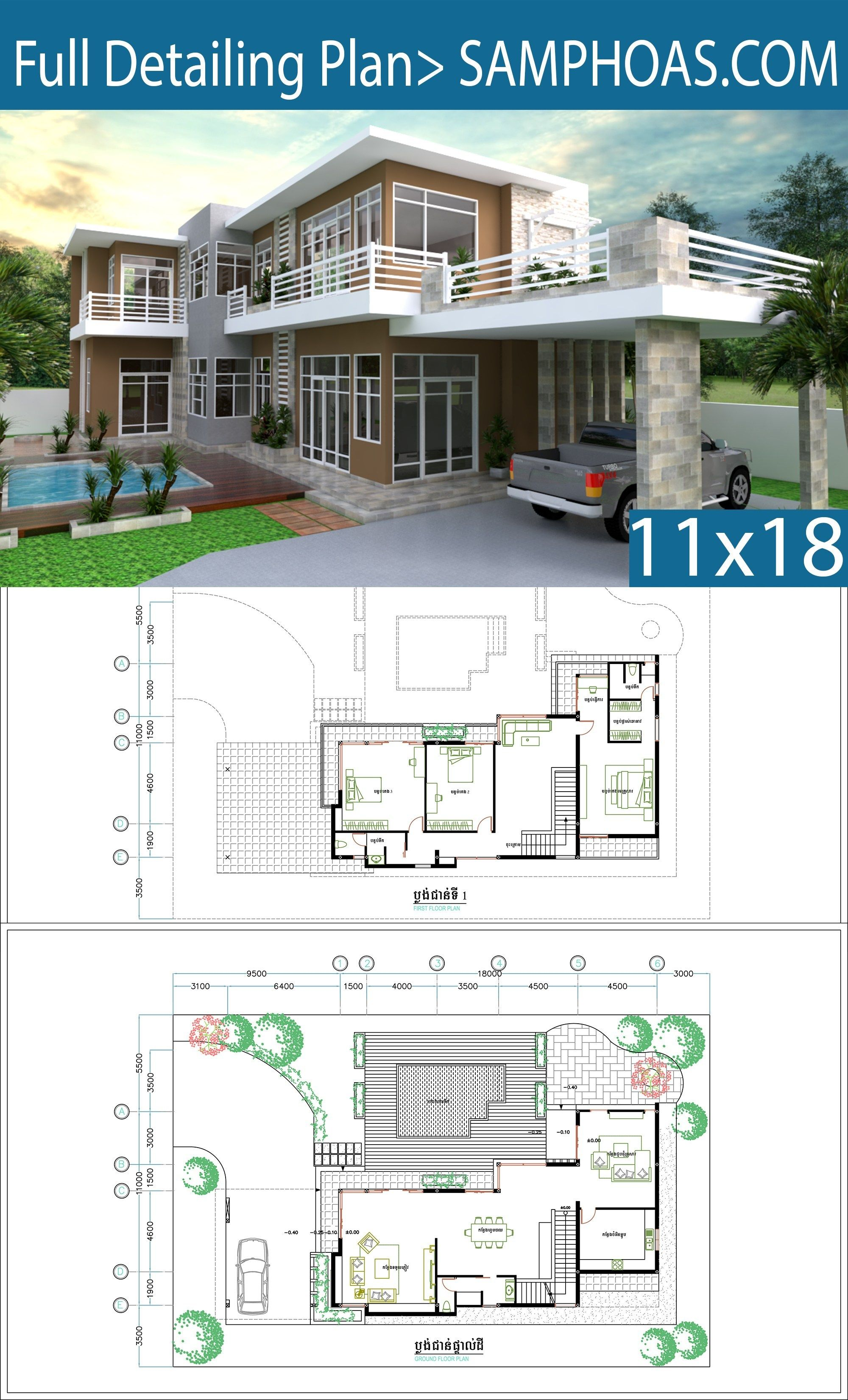 3 Bedrooms Villa Design Plan 11x18m Samphoas Plan Villa Design Residential Architecture Plan Home Design Floor Plans