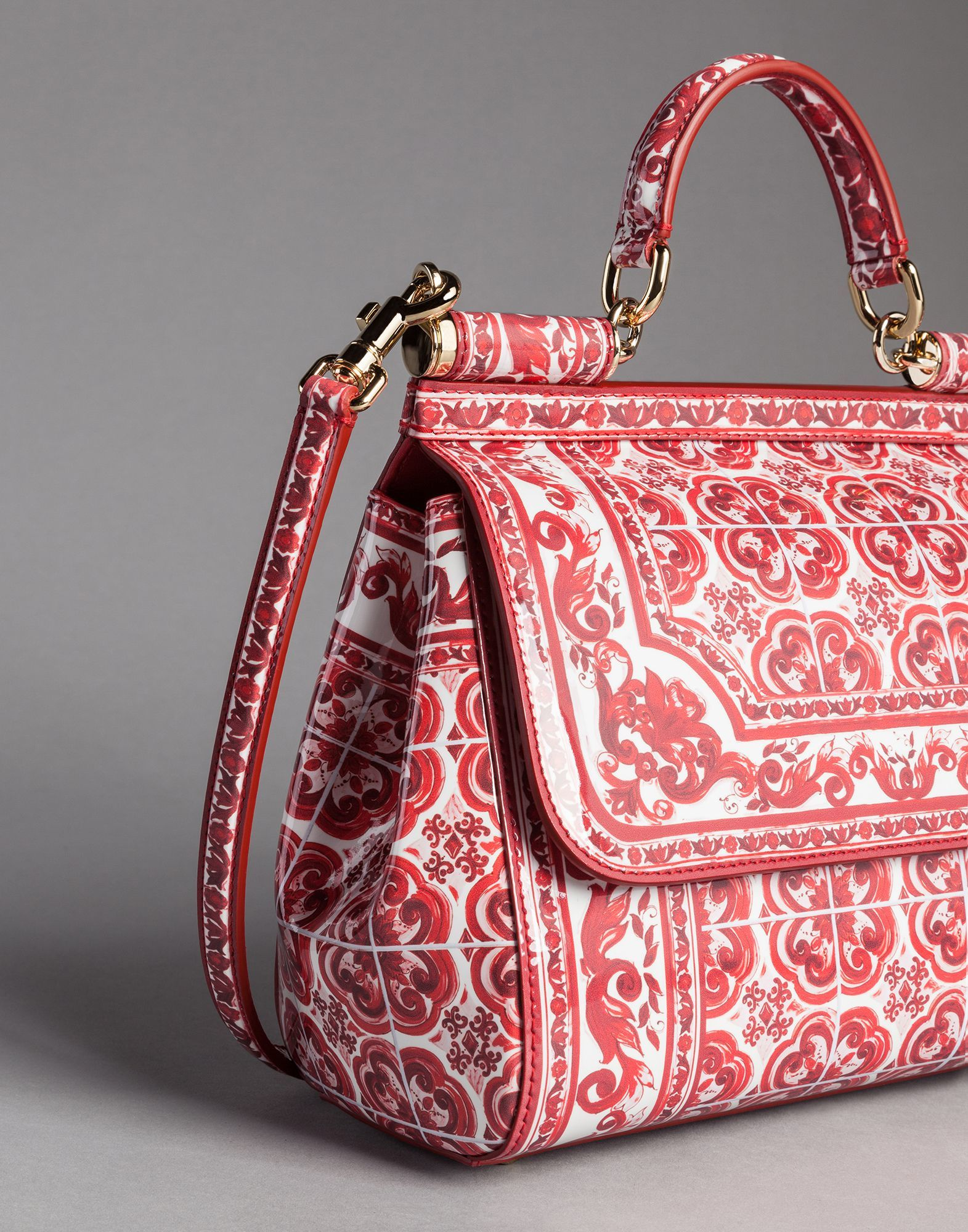 a00579e7c592 Dolce   Gabbana Red Majolica Print Medium Patent Leather Sicily Bag -  2