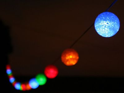 """Solar Powered Strand Of Glowing Light Balls: """"These babies beautifully glow.  Perfect for your chateau.    All in all, 21 balls  to hang in your halls.    Weatherproof  hang from the roof."""""""
