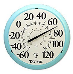 Taylor Precision Products Big And Bold Dial Thermometer 13 25 Inch Sky Blue Price December 2020 Outdoor Thermometer Patio Wall Thermometer