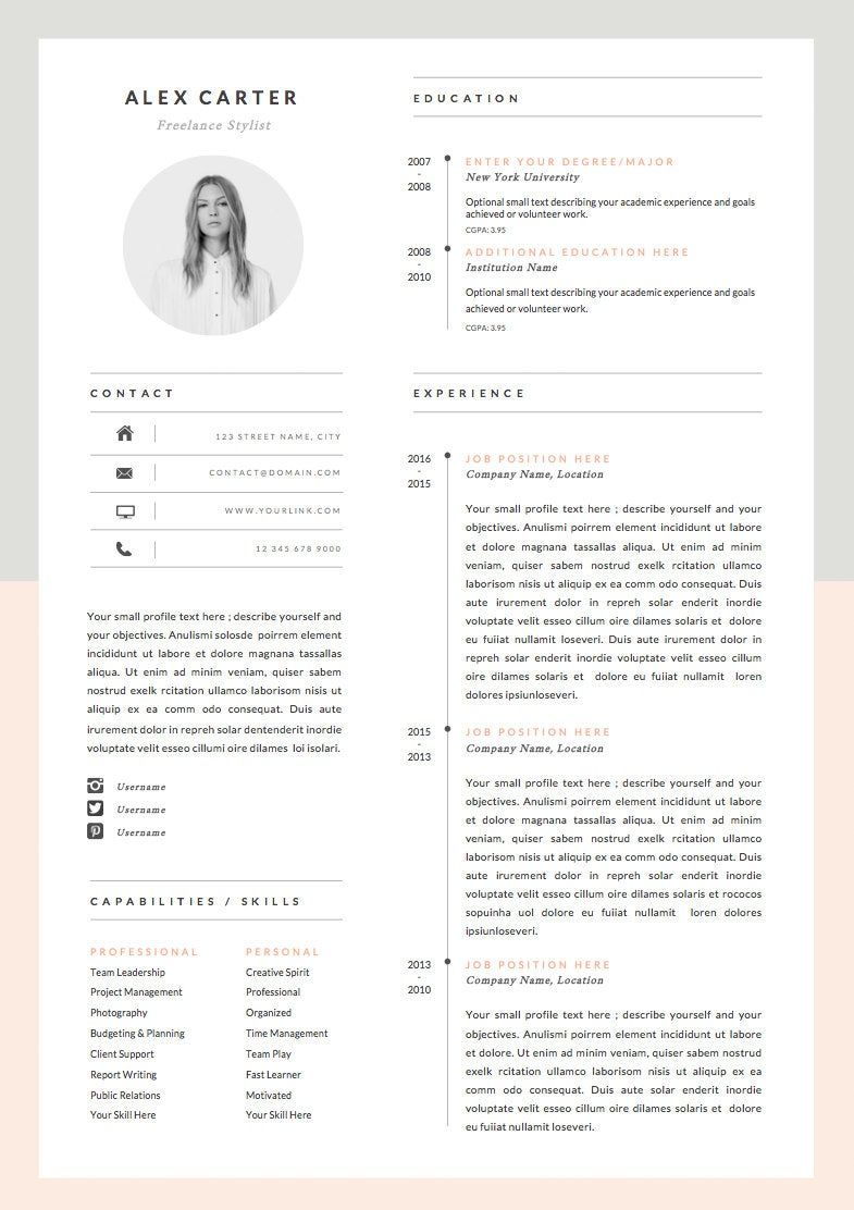 Modern Resume Template & Cover Letter + Icon Set for