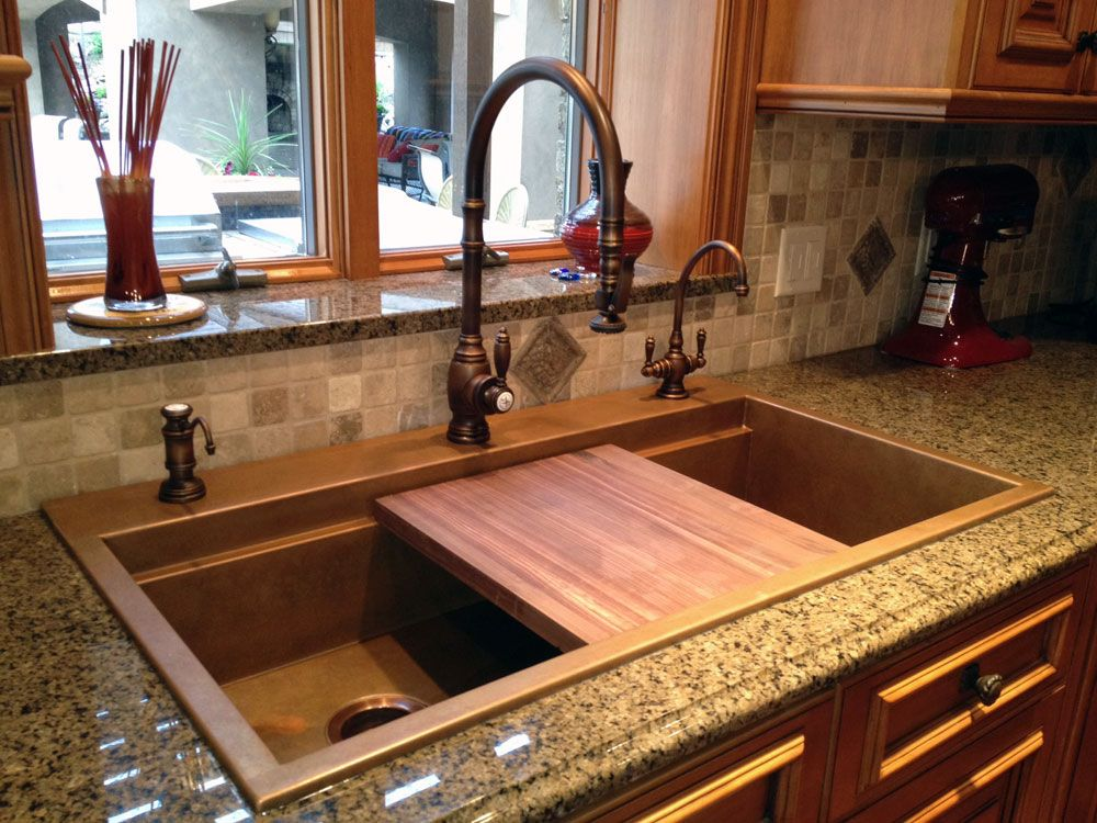 Rachiele Self Rimming Copper Sink With Interior Ledge For Cutting Board.  Faucet Suite By Waterstone