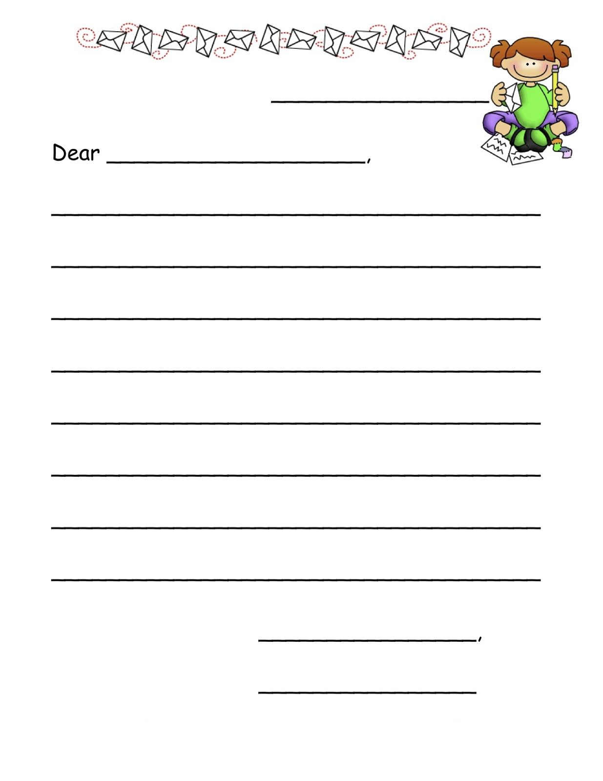 Free And Printable Templates For Kids Letter Writing Template Letter Writing Paper Letter Template For Kids