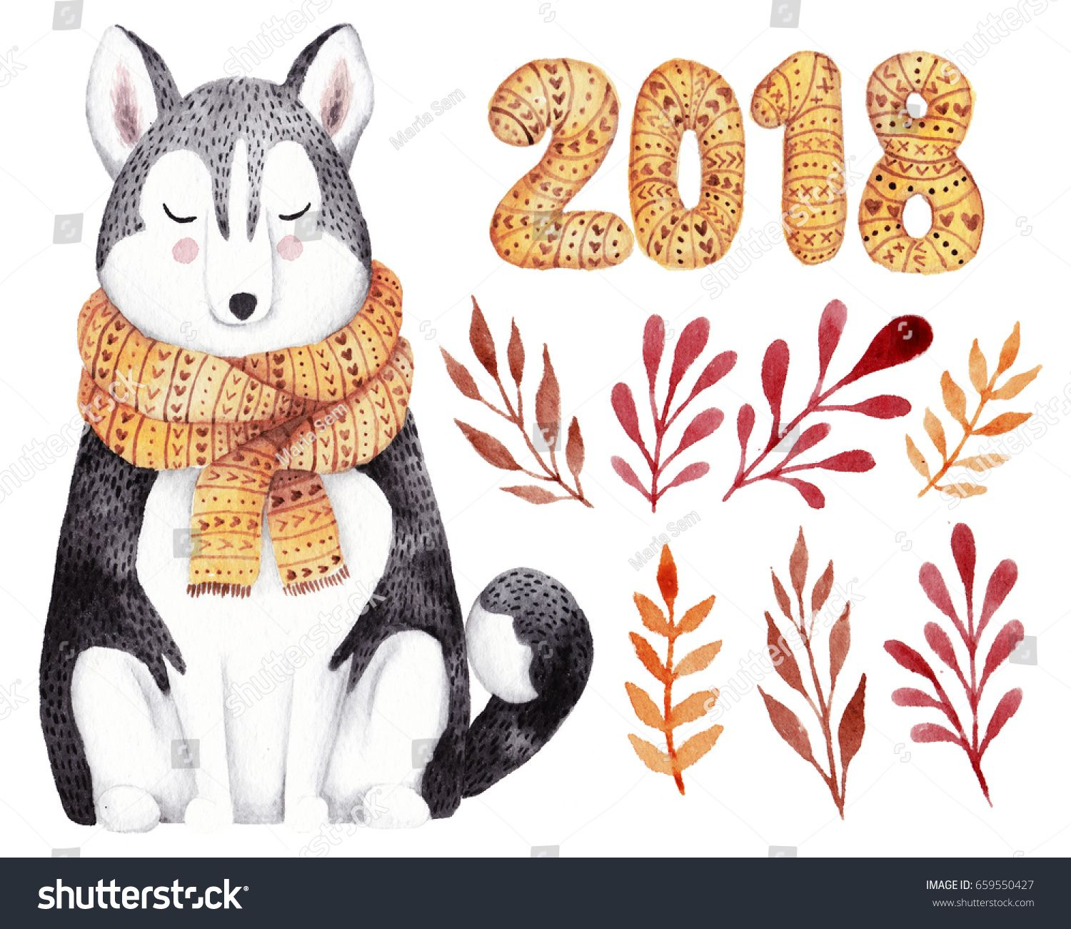 Watercolor kit for christmas or new year 2018 greeting card hand watercolor kit for christmas or new year 2018 greeting card hand drawn illustration with husky kristyandbryce Gallery