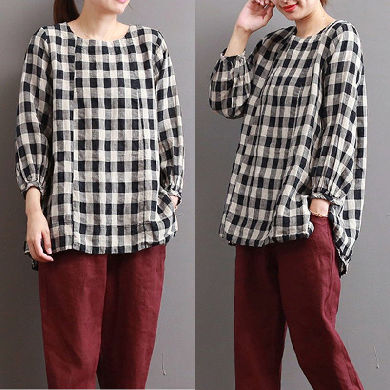Women's Clothing Summer Plaid Women Loose Shirts Half Sleeve Casual Summer Blouses Shirts New Irregular Checked Shirts