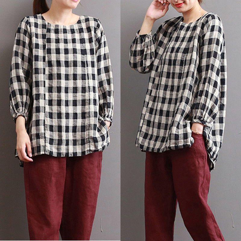 480254539f4 ZANZEA UK 8-24 Womens Check Baggy Tops Pullover Ladies Shirts Blouse Plus  Size  ZANZEA  Blouse  Casual