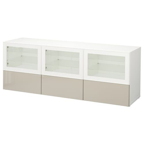 BRIMNES TV storage combination/glass doors - white 126x16 ...