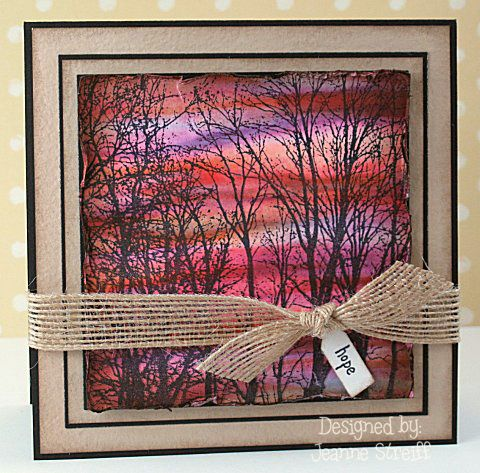 From Jeanne Streiff @splitcoaststampers    I colored the background with Touch Twin markers and then stamped the Tree Line Cover A Card background over it.    Stamps: Impression Obsession (CC099 Cover A Card Tree Line , MC97 Clear Sentiments 1 Add Ons)  Papers: DiscountCardstock... (Neenah Solar White 80#, Straw 110#, Posh True Black Linen 80# )  Inks: Clearsnap Colorbox Premium Dye Ink (Licorice) )  Markers: Shinhan Touch Twin  Ribbo...